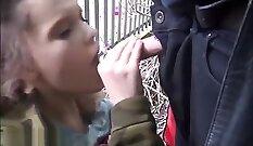 Amateur public blowjob outdoors so cute