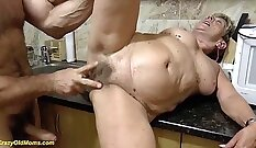 Chubby mommy gets her hairy pussy trampling and tease
