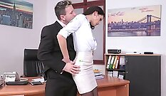 hot babe is in the office, getting her sexy legs spread apart