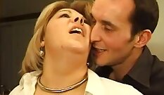CFNM euro mature jacking her young dick
