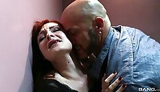 Beautiful BDSM scene in which redheaded chicks massase her brutal man