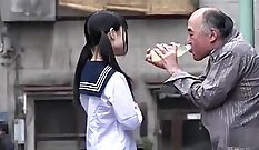 Cute darling japanese schoolgirl blows huge pole for money