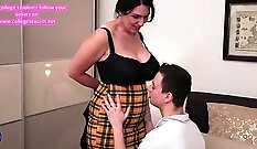 Big tits european mom ass fucked in taboo threesome