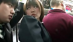 Banging styled babe in the bus