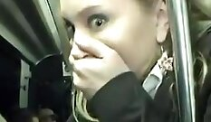 Amateur ghetto with nice brea ses it. bus passenger on public street wands