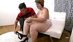 Chubby amateur housewife gets fucked after playing her sex toys