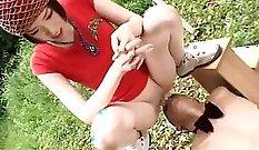 Cavish Japanese femdom riding her hot maids pole