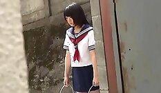 Arousing Japanese slut Rin Ayase sucks two massive white cocks