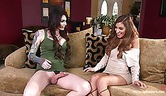 Cute chick bends over to share hard member with sweet tempered pal