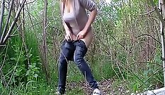 Camgirl with big tits and piss is eaten outdoors