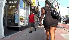 Chubby booty ebony chick tries to sell her junk