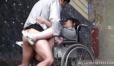Alluring voyeur Japan Asuka Texeira sucking oiled cock