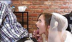 Cuckold eats waiting room cock