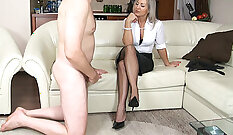 Asian Bound in Bate and Femdom Handjobs