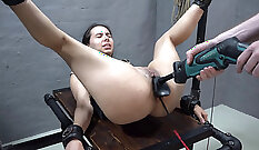 Amazing slave abused by sex machine