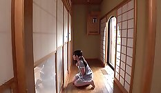 Comely petite Japanese gal Sakura Kuramoto gets licked and poked hard