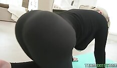 Blonde stimulates cock and gives missionary rub