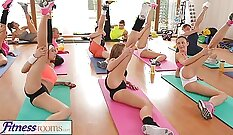 Amazing man and goddess sex during gym