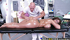 Busty masseuse Eva Notty deepthroats and rides stiff cock erect style