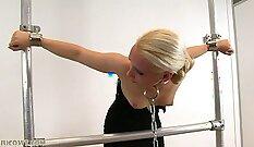 blonde slave swinging machine spun upside down