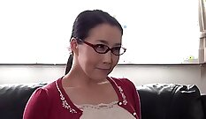 Beautiful mom and stepson have fun in bedroom