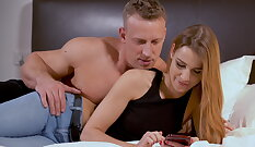 Lucky roommate Blondie Blair is shocked to see Alexis Crystal and Drake Tyler