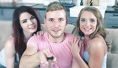 Blond beauty deepthroating men soaking penis in threesome