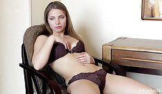 Blond Russian lady Nina Luv has never had sex before