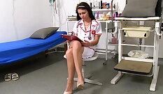 Curvy busty Slut Nurse Beads Her Pussy