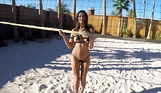 Cumswapping babes on a beach~ in different poses