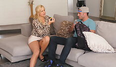 Brunette Madyson Merion is a tanned MILF that needs more than one tool