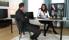 Blindfolded busty Jessy Dubai gets fucked hard on set