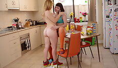 Sensual teen doggy action in the kitchen
