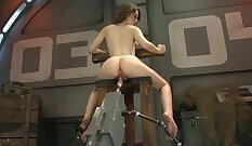 Blonde hottie rides machine on cam