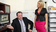 Dirty office whore punished with lovald by a massive load