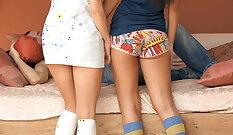 Brunette teasing teen in red panties